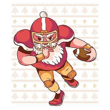 Santa Playing Football Ugly Christmas  by ZippyThread