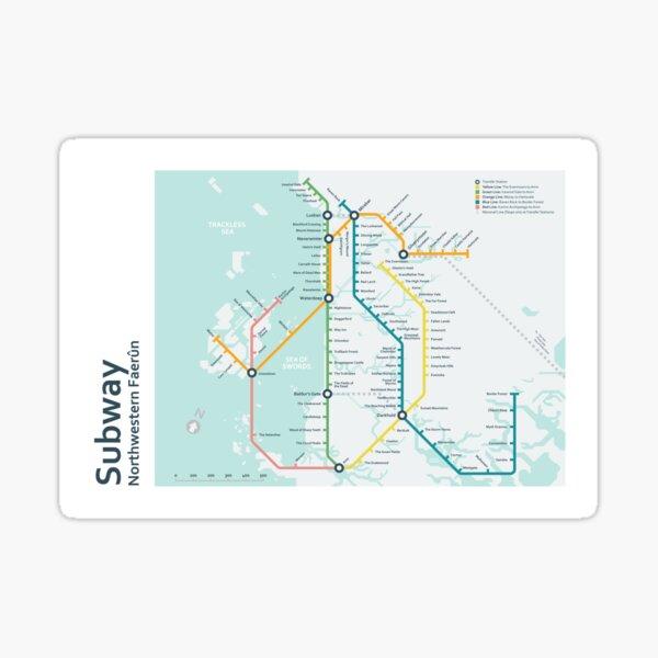 Subway Map - Northwestern Faerûn Sticker