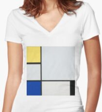 Camiseta entallada de cuello en V Piet Mondrian, Arte Abstracto, Famoso Europeo