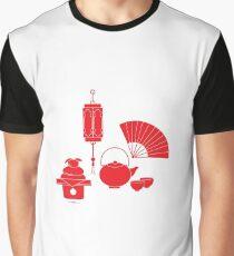Chinese lantern, kettle, cups, fan, kagami mochi. Graphic T-Shirt