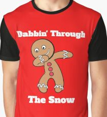 Gingerbread Man Dabbin Through The Snow Graphic T-Shirt