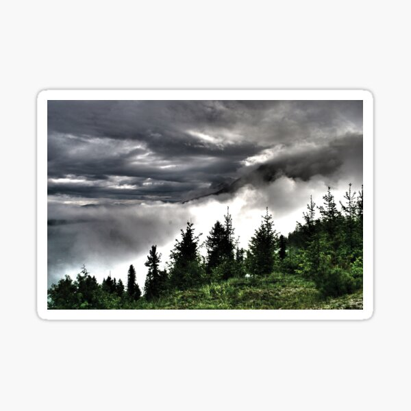 dramatic clouds over the mountains #2 Sticker
