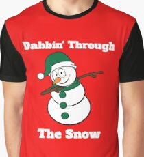 Snowman Dabbin Through The Snow Graphic T-Shirt