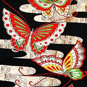 ANTIQUE JAPANESE BUTTERFLIES Red Black White Pattern by BulganLumini