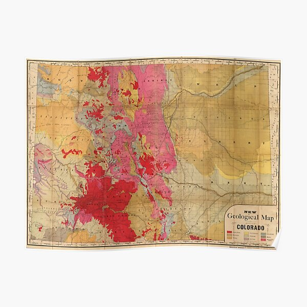 Vintage Geological Map of Colorado (1879) Poster