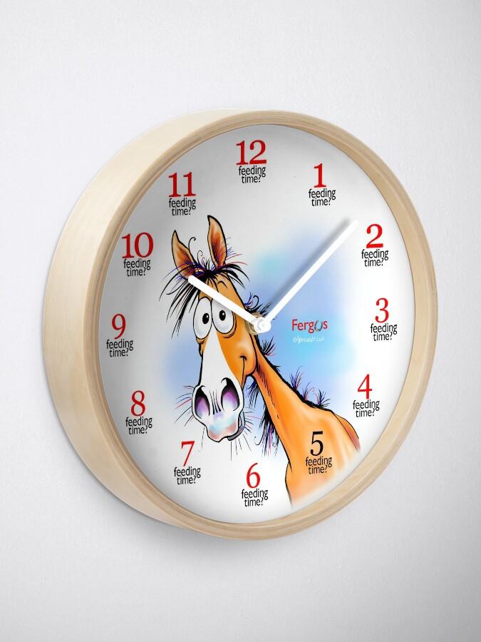 "Alternate view of Fergus the Horse: ""Feeding Time"" Clock Clock"