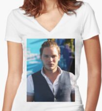 Dominic Sherwood pic Women's Fitted V-Neck T-Shirt