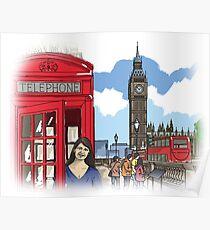 UK England London illustration Poster
