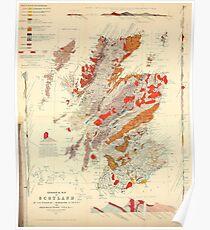 Vintage geologische Karte von Schottland (1865) Poster