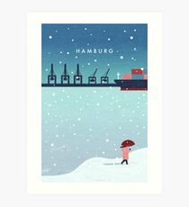 Hamburg im Winter Kunstdruck