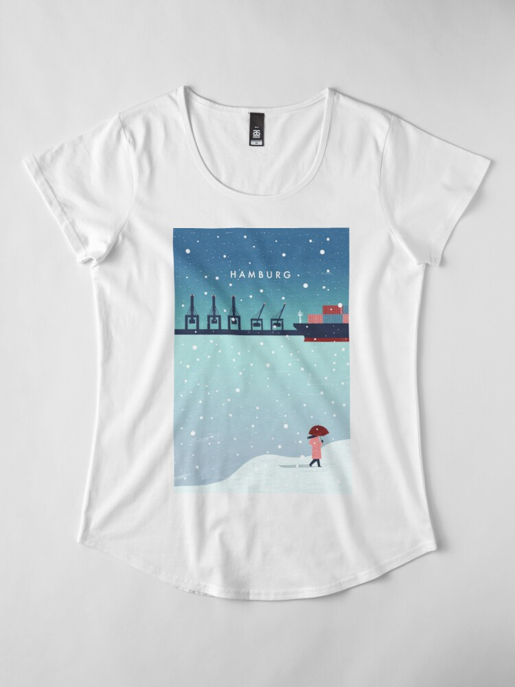 Alternative Ansicht von Hamburg im Winter Premium Rundhals-Shirt