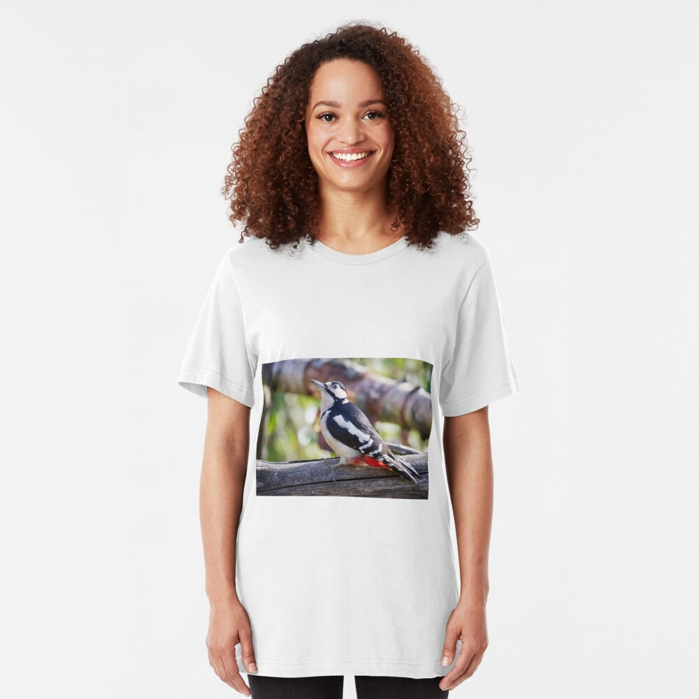 Great Spotted Woodpecker (Dendrocopos major) Slim Fit T-Shirt