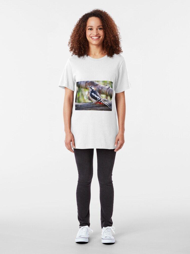 Alternate view of Great Spotted Woodpecker (Dendrocopos major) Slim Fit T-Shirt
