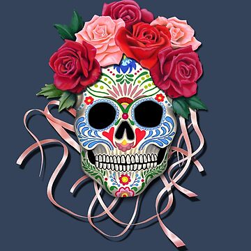 Mexican Roses Skull with Ribbons by Colette-vd-Wal