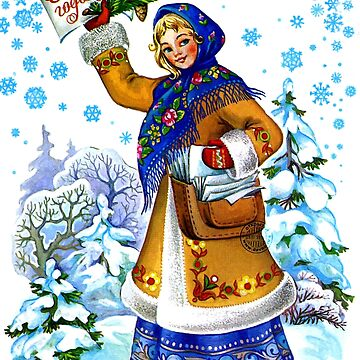Young Russian woman with New Year papers by AmorOmniaVincit