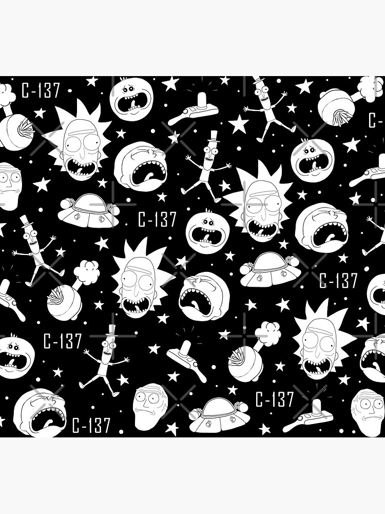 Black and white Rick and Morty pattern by ValentinaHramov