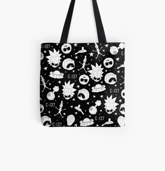 Black and white Rick and Morty pattern All Over Print Tote Bag