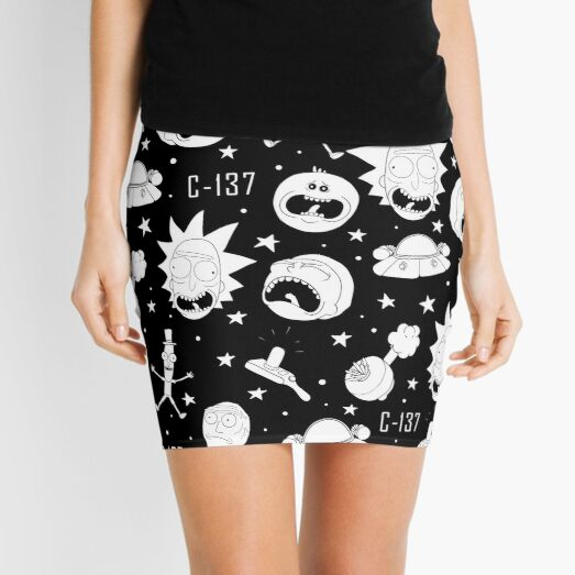 Black and white Rick and Morty pattern Mini Skirt