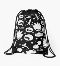 Black and white Rick and Morty pattern Drawstring Bag