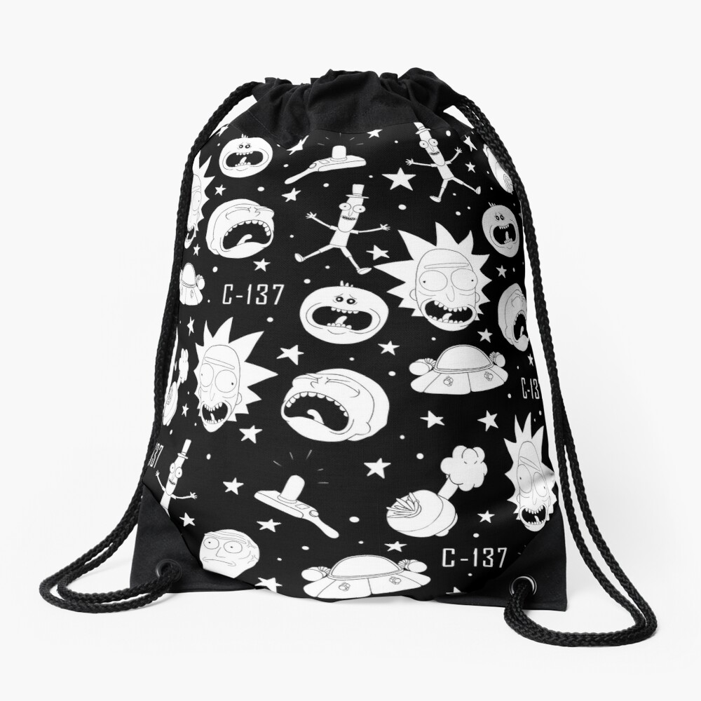 Black and white Rick and Morty pattern Drawstring Bag