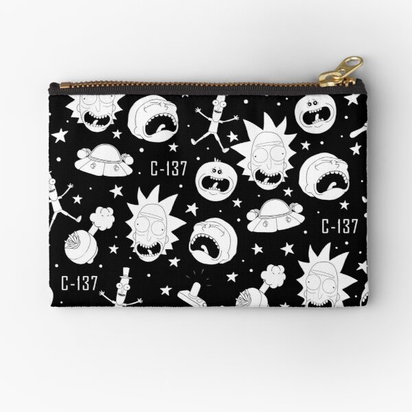 Black and white Rick and Morty pattern Zipper Pouch