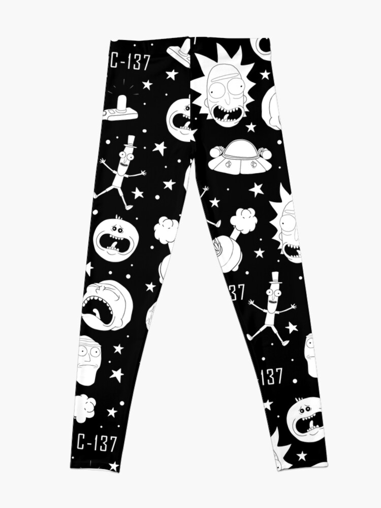 Alternate view of Black and white Rick and Morty pattern Leggings