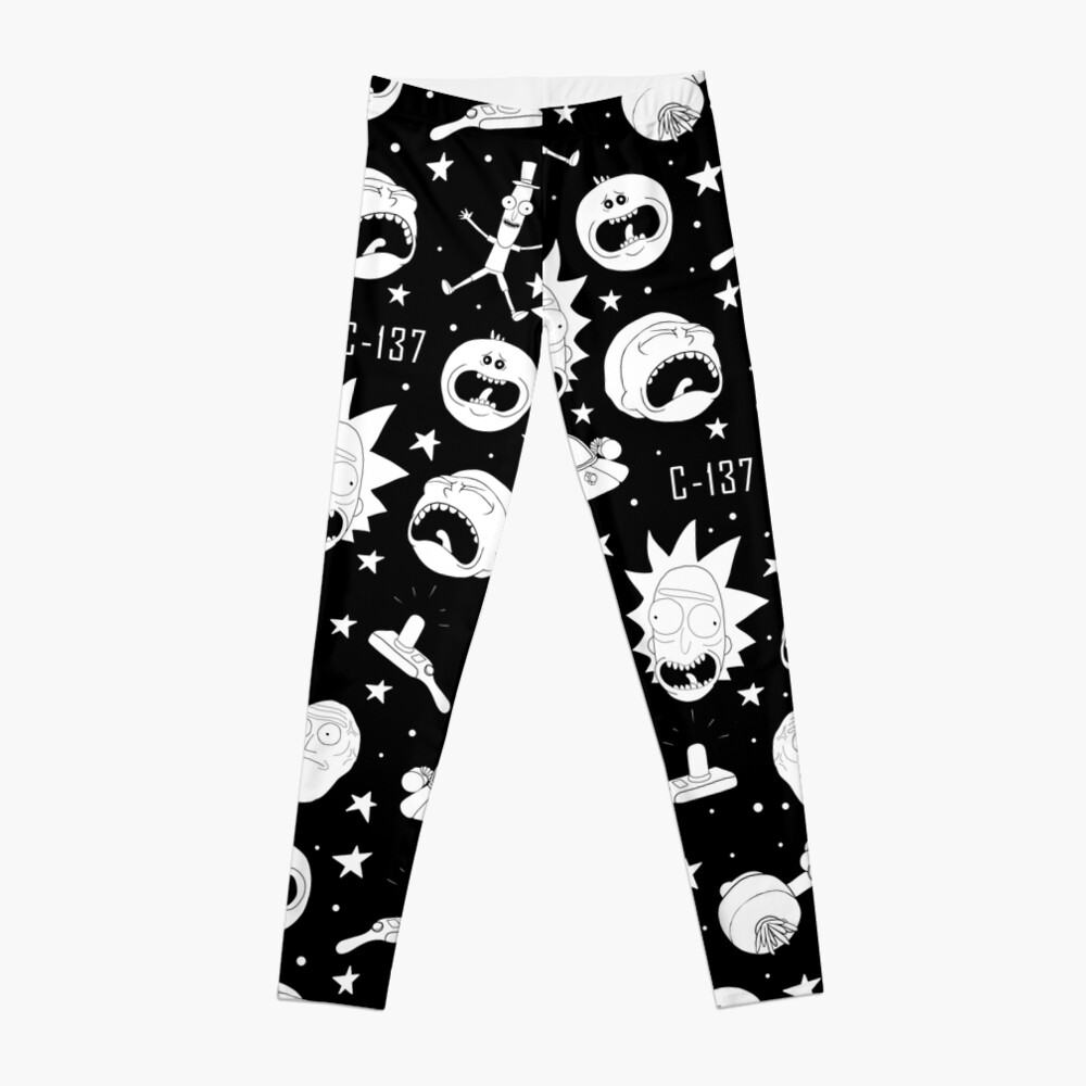 Black and white Rick and Morty pattern Leggings