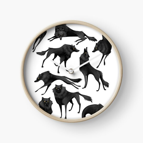 Black wolves Clock