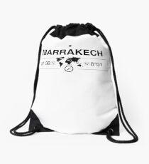 Marrakech Morocco with World Map Coordinates GPS   Drawstring Bag