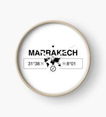Marrakech Morocco with World Map Coordinates GPS   Clock