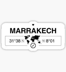 Marrakech Morocco with World Map Coordinates GPS   Sticker