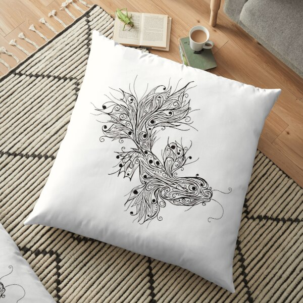 Abstract Mudskipper Fish Lineart Floor Pillow