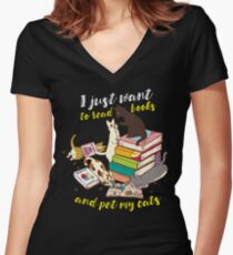 Funny Reading Books Cat Lover Women's Fitted V-Neck T-Shirt