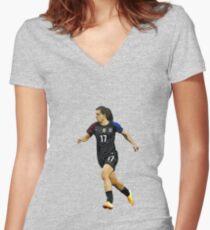 Tobin Heath - Cartoon # Women's Fitted V-Neck T-Shirt