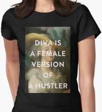 DIVA IS A FEMALE VERSION OF A HUSTLER Women's Fitted T-Shirt