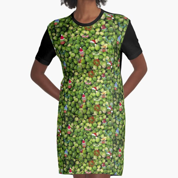 Brussel Sprouts  ( Merry Christmas) Graphic T-Shirt Dress
