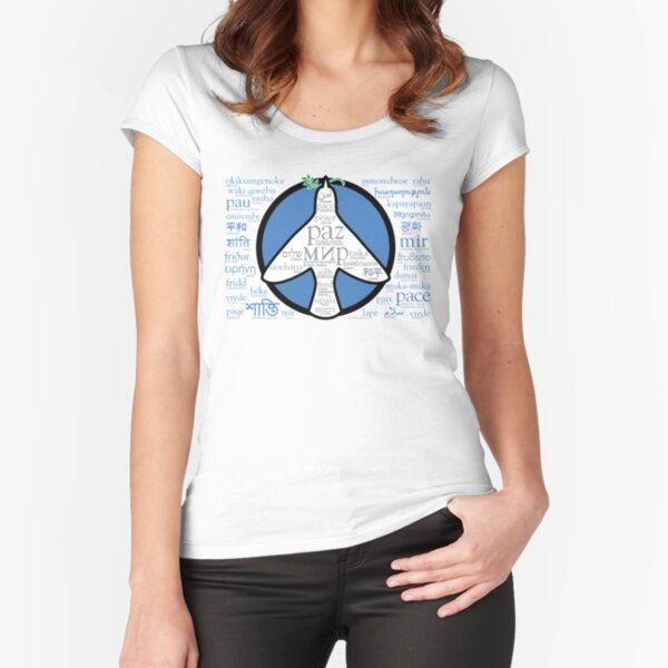 Peace in languages and symbols Fitted Scoop T-Shirt