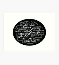 Buffy the Vampire Slayer word scramble Art Print