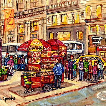 NEW YORK CITY SCENE PAINTING FOR SALE USA FINE ART FOOD CART AND STREET FOOD C SPANDAU by CaroleSpandau