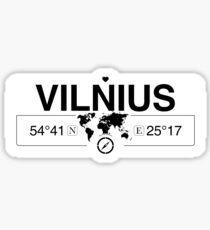 Vilnius with World Map Coordinates GPS   Sticker