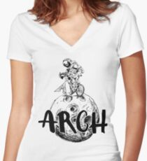 Arch Linux Distro Moonlanding Women's Fitted V-Neck T-Shirt