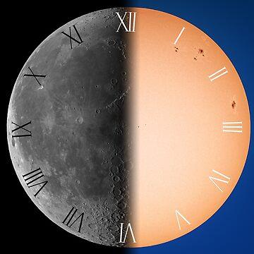 Half moon half sun roman numerals clock by LukeSzczepanski
