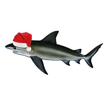 Sharkmas Santa Shark Christmas Bull Shark  by banwa