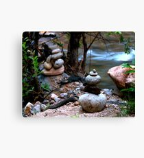 Serenity Stream Meditation Rock Cairn Canvas Print