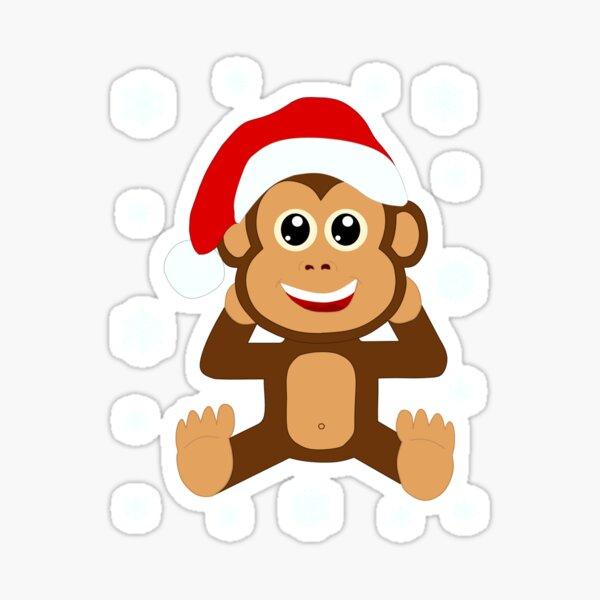 Weihnachtsmann Schimpanse Affe Santa Illustration Sticker