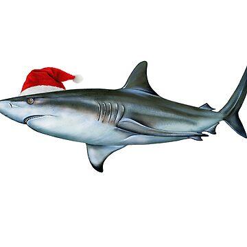 Sharkmas Blacktip Shark - Christmas Santa Shark  by banwa