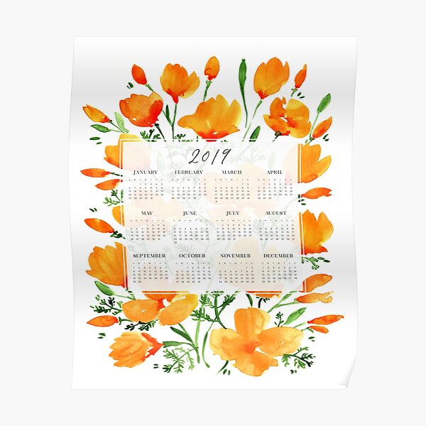 2019 calendar with watercolor flowers Poster