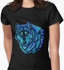 Wolf Aurora Blue Colorful Fantasy Spirit Women's Fitted T-Shirt