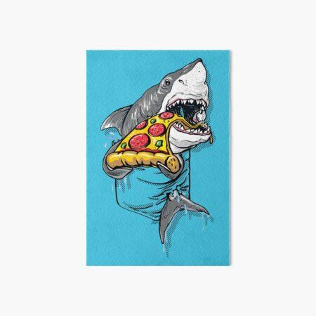 Great White Pocket Shark Loves Pizza Art Board Print
