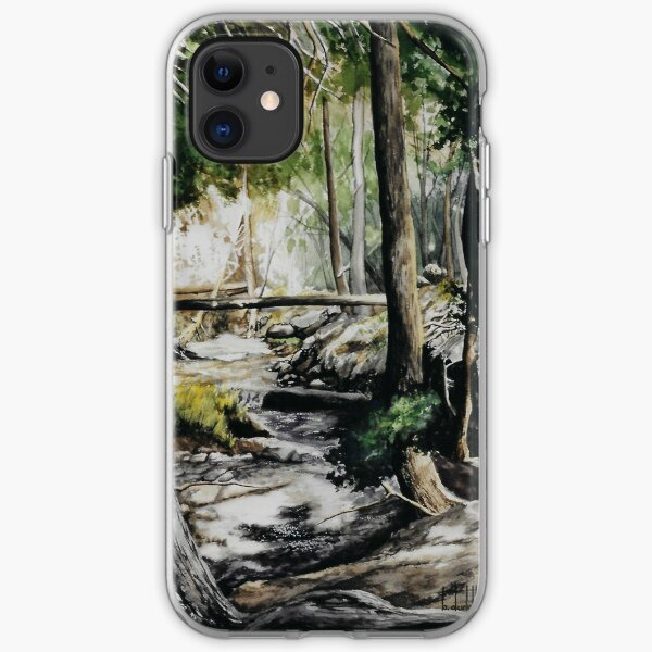Original watercolor painting of a mountain creek iPhone Soft Case